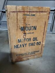 Vintage Miquon Mobil Sae-50 Wood Crate 2 5 Gallon Oil Can Box Sign Motor Ad