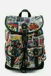 Loungefly Marvel Comic Strip Nylon Multicolored Slouch Backpack Free Shpping