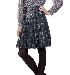 Wess Tweed Print Silk Skirt Normandy Blue Brand New Size M