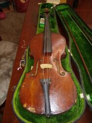 Old 1800s German 4/4 Violin For Repair. Antique. Two Piece Back.