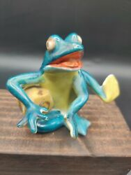 Vintage Anthropomorphic Frog Toad Playing Drum Figurine Made In Occupied Japan