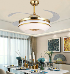 42 Remote Control Invisible Blades Ceiling Fan Light Home Decor Led Chandelier