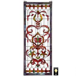 Authentic 4 Foot European Antique Style Manor Estate Stained Glass Window Panel