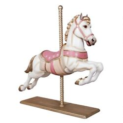 Merry Go Round Carousel Pastel Jumper Horse Large Full Size With Wood Stand 57