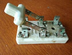 Antique Double Copper Blade Porcelain Electrical Knife Switch C1920