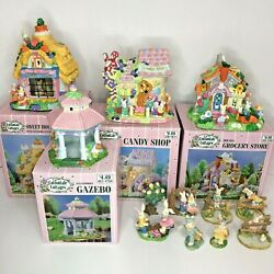 Lot 4 Cottontale Cottages Candy Shop Grocery Sweet Gazebo + 8 Figures Bunny