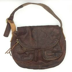 LUCKY BRAND Lamb Leather Red Brown Distressed Stash Fold Over Shoulder Bag Purse $24.00