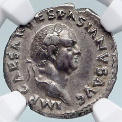 Vespasian Authentic Ancient 69ad Rome Old Silver Roman Coin Aequitas Ngc I89617
