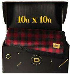 Big Blanket Co Original Stretch Red Plaid | 10x10 Extra Large Throw Blanket | Be