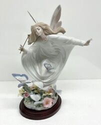 Mib Large Lladro Fairy Of The Butterflies Flowers Porcelain 1850 W/ Box And Stand