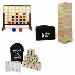 Yardgames Giant Tumbling Timbers Outdoor Game Bundle W/ 4 In A Row And Jumbo Dice