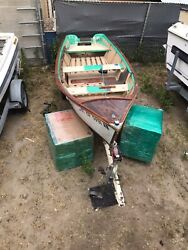 Solid Wooden Fishing Boat In Great Shape Including Trailer With Permanent Tagandnbsp