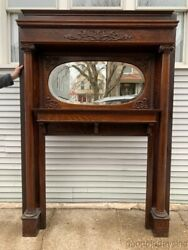 Antique 1890and039s Carved Oak Fireplace Mantel W/ Oval Beveled Glass Mirror - Mantle