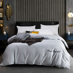 Egyptian Cotton Duvet King Queen Single Double Embroidery Quilt Covers 10 Colors