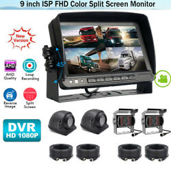 9and039and039 Quad Split Monitor Dvr Driving Record Built In W/4x Ahd 4pin Ir Camera Truck