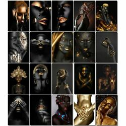 Figure Black Gold African Woman Painting By Numbers Oil Canvas Living Room Decor