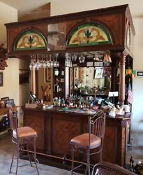 Vintage Home Bar with mahogany wood canopy style four chairs Mexico made