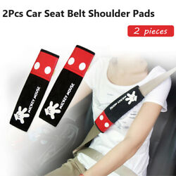Disney Mickey Mouse Car Seat Belt Shoulder Pads Car Accessories 1 Pair Black Red