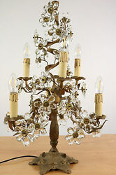 Banci Tree Table Lamp Prism Cut Glass Petals And Brass 1950's Firenze Italy Vtg