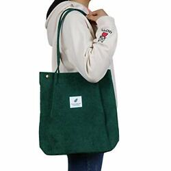 Corduroy Tote Bag with Inner Pocket Fashion Shopping Bag Totes for Women Reus... $15.69
