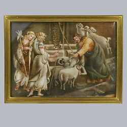 Antique 19th Century Acrylic Painting Maidens And Man Give Water To Goats And Rams