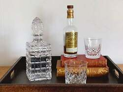 Vintage Square Cut Crystal Glass Decanter With Solid Crystal Stopper