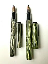 Pair Of Conklin Fountain Pens - Classic Green And Black Beauties