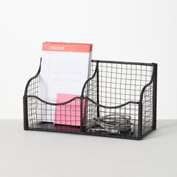 Dinjar Home Office And School Mesh Black Iron Wall Organizer With Wall Baskets