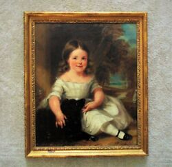 19 C. Portrait Painting Girl And Dog Antique Victorian Oil On Canvas Folk Art
