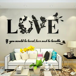 Acrylic 3D LOVE Wall Sticker Art Vinyl Decals Bedroom Removable Room Home Decor