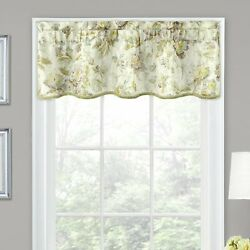 Traditions By Waverly Forever Yours Flora Window Scallop Valance In Platinum 52