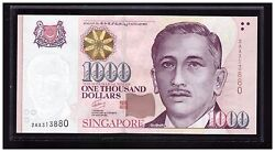 Singapore 1000 Portrait Gct Banknote With First Prefix Aa 2aa313880 Unc