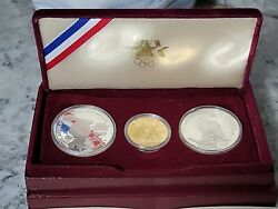 1983-1984 Olympic 3 Coin Set 2 Silver Dollar And 1 Gold 10 Coin Mint Condition