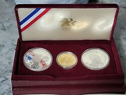 1983-1984 Olympic 3 Coin Set, 2 Silver Dollar And 1 Gold 10 Coin Mint Condition