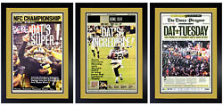 Set Of 3 New Orleans Saints Nfc / Super Bowl And Parade Prints Matted And Framed