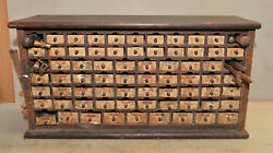Rare Antique Watchmaker Or Jewelers Cabinet Storage Chest Collectible Parts Lot