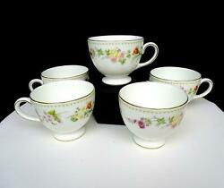 Wedgwood England R4537 Mirabelle Floral Rim 5 Piece 2 3/4 Footed Cups 1976-1998