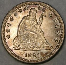 1891 S Liberty Seated Silver Quarter Beautiful W/gorgeous Drapery Hair Feathers