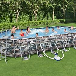 Coleman 26' X 52 Power Steel Oval Above Ground Pool Set With Wifi Pump