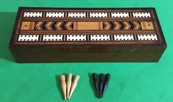 Old C1840 Antique Playing Cards Cribbage Board Card Game Inlaid Wooden Box B