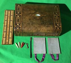 Old 1800 Antique Inlaid Wooden Playing Cards Games Box Cribbage Board Key + Lock