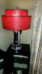 Vintage Chrome Lucite Cylinder Lamp With Mid Century Red 2 Tier Fiberglass Shade