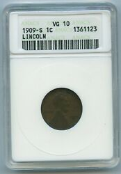 1909 S Anacs Vg10 Lincoln Wheat Cent 1c Penny Us Mint 1909-s Vg-10 Soapbox