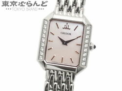 Seiko Credor Signo 18p Diamond Shell Wristwatch Women And039s Quartz Stainless