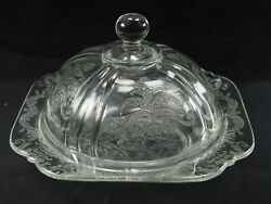 Depression Glass Hazel Atlas Patterned Clear Covered Round Butter Dish 40s