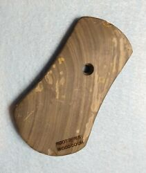 3 15/16 X 2 1/4 Bi-concave Pendant. Banded Slate. Wood Co. Oh. Ex D. Root.