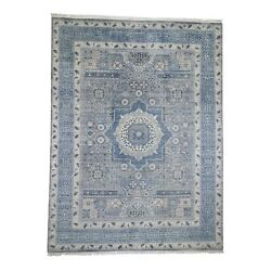 9and0392x12and0392 Blue Pure Wool Mamluk Design Hand-knotted Oriental Rug R45725