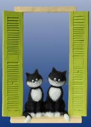 On The Watch Two Cats Sitting In Window With Shutters Sculpture Statue Dubout