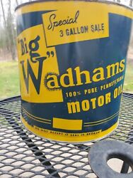 Vintage Big Wadham Motor Oil Special 3 Gallon Can