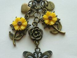 SUNFLOWERS BUTTERFLY HEART LOVE KEY CHAIN CLIP FOR PURSE FOB DESIGNER BAGS $9.99